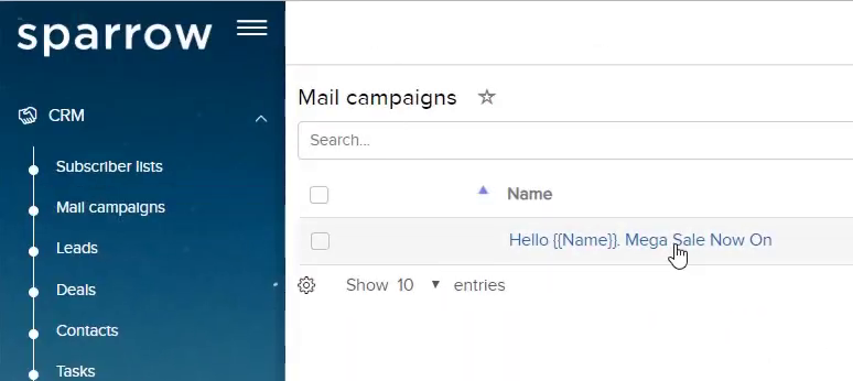 Create Email Campaign – CRMmail template.