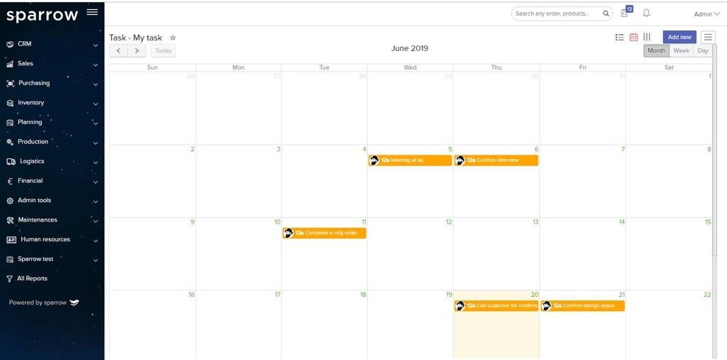 Sparrow ERP Task Management Calendar View