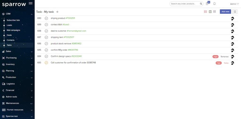 Sparrow ERP Task Management List View