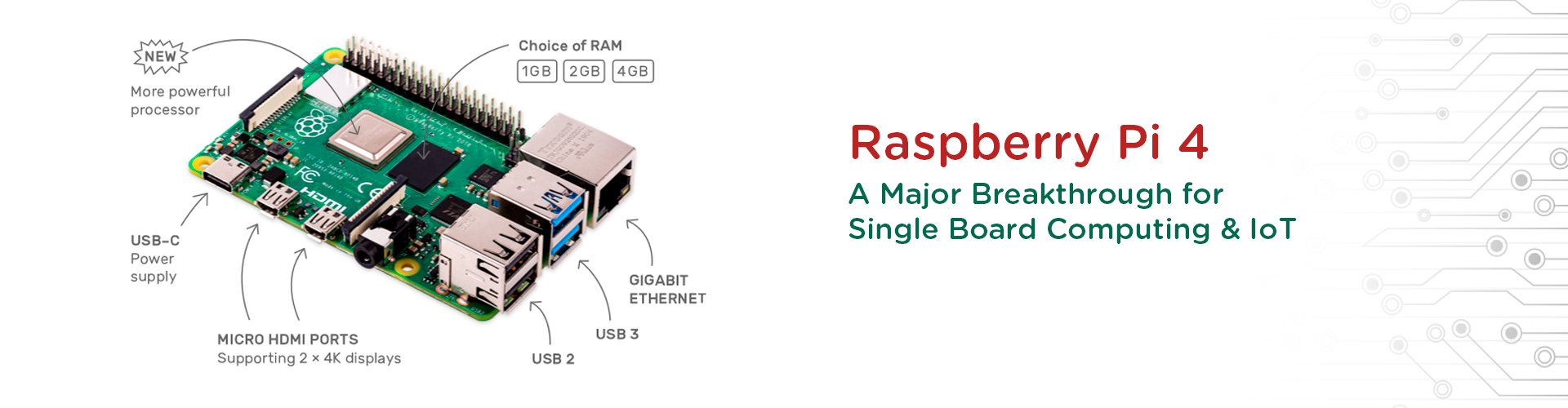 Raspberry Pi 4 for Single Board Computing & IoT