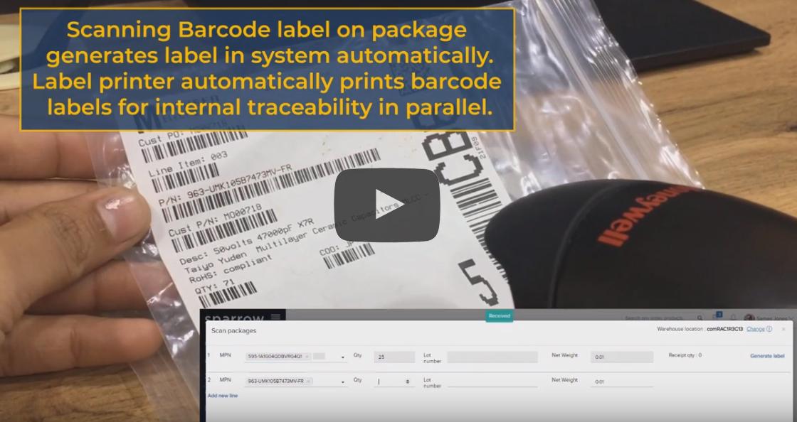 Barcode scanning, Goods receipt, Sparrow ERP